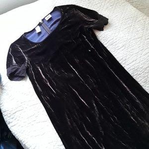 Dkny Velvet maxi Dress with silk cuffs 10